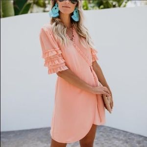 VICI Collection coral wrap dress